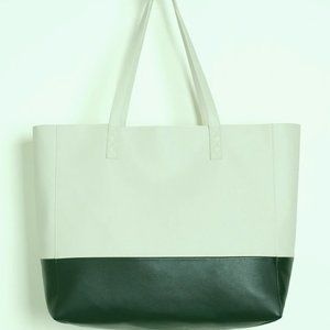 Chico's Classic Faux-Leather Colorblock Tote NWT